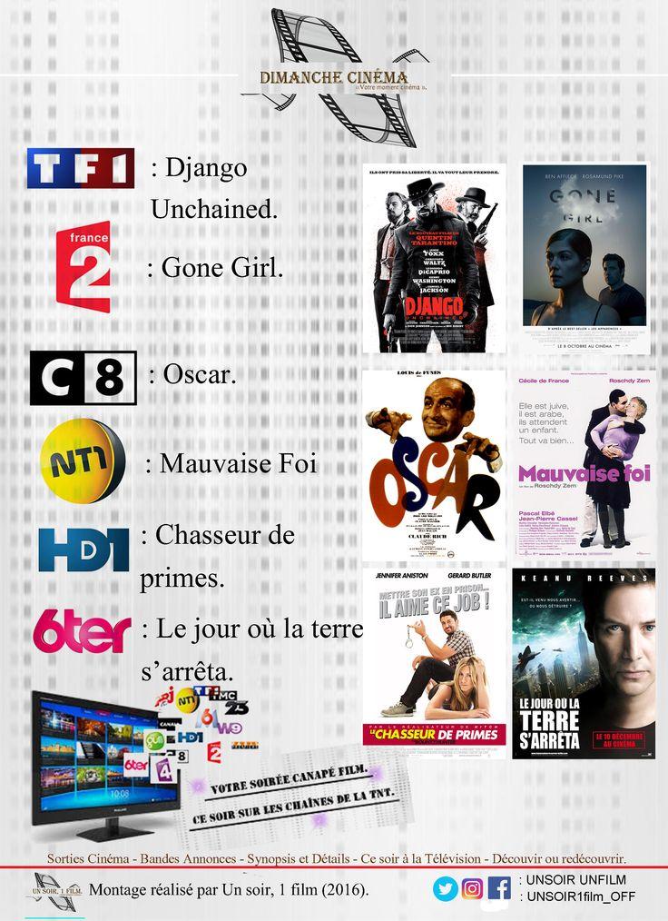 Retrouvez à 20hr50 sur les chaînes de la tnt :  - TF1, Django Unchained. #quentintarantino #jamiefoxx #djangounchained #leonardodicaprio  - France 02, Gone Girl. #gonegirl #davidfincher #benaffleck #rosamundpike  - C8, Oscar. #louisdefunes  - NT1, Mauvaise foi. #mauvaisefoi #ceciledefrance #roschdyzem  - HD1, Chasseur de primes.  - 6TER, le jour ou la terre s'arrêta.