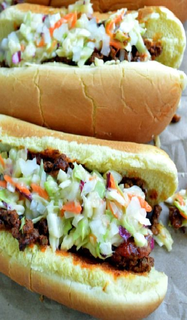 Carolina-Style Slaw Dogs. http://www.sugardishme.com/2014/06/24/carolina-style-hot-dogs/