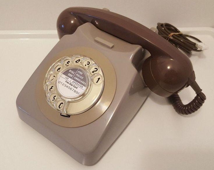 Original Vintage Retro 1970's GPO 746 Rotary Dial Grey Telephone *Restored*
