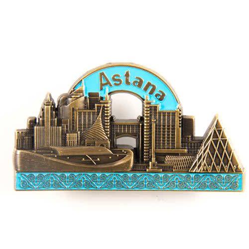 Metal Fridge Magnet: Kazakhstan. Astana View (Brass Color)