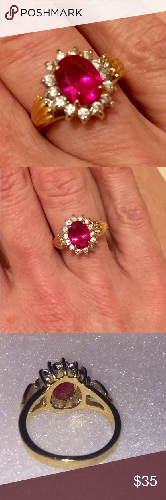 NWOT Gorgeous Cocktail Ring Stunning Modern-Vintage Hallmark Stamped 18K GERSC White and Yellow Gold Electroplated With A Beautiful Synthetic Ruby Set Center Accented With Sparkling Cluster CZ Cubic Zirconia Accents Fancy Bling Cocktail Dinner Ring Ladies Ring Size 6.5 to 7 High Quality Costume Fashion Jewelry! Jewelry Rings