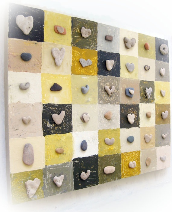 Original OOAK 3D Art Painting with genuine Heart by MedBeachStones, $238.00