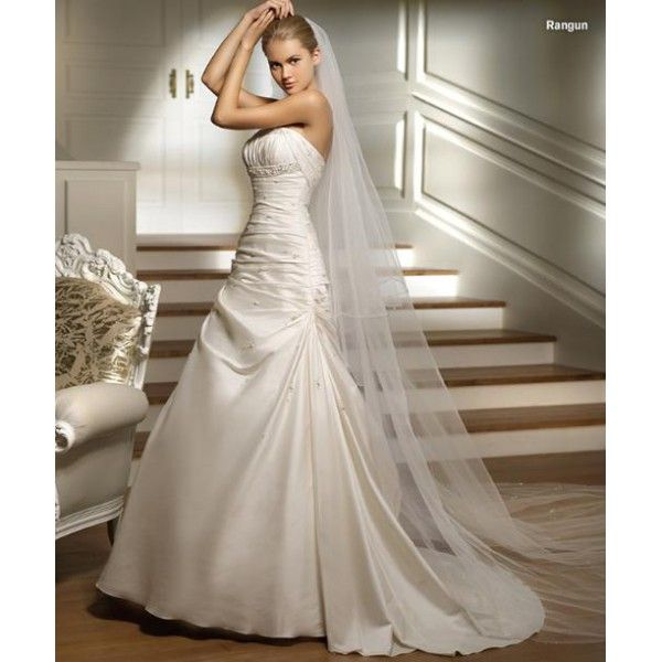 Taffeta Strapless Ruched Bodice with Chapel Train Simple Bridal Dress WD-0328