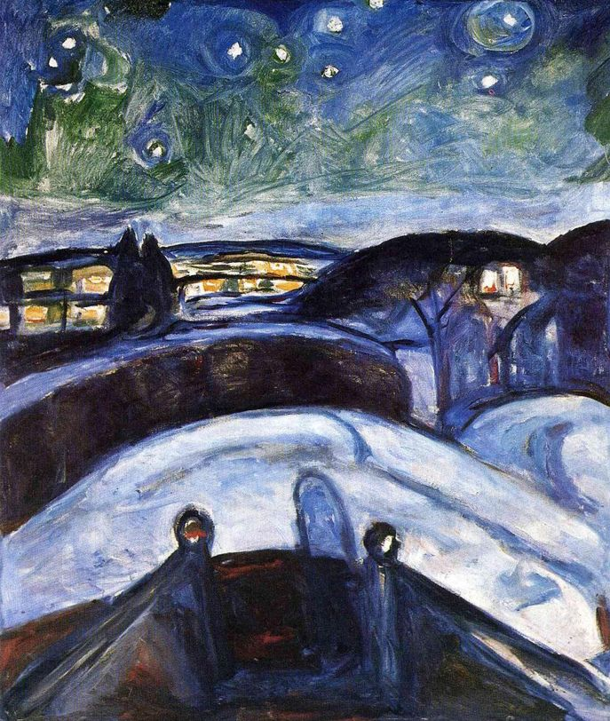 Starry Night - Edvard Munch, 1922 Interesting to compare this painting with Van Gogh's Starry Night.