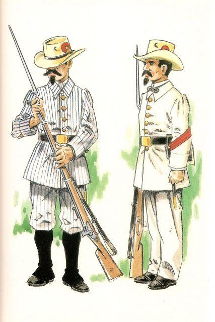 Spanish; Infantry Company of Fernando Po, Private in uniforme de diario, 1st Class Corporal in uniforme de gala, Spanish Guinea, 1858