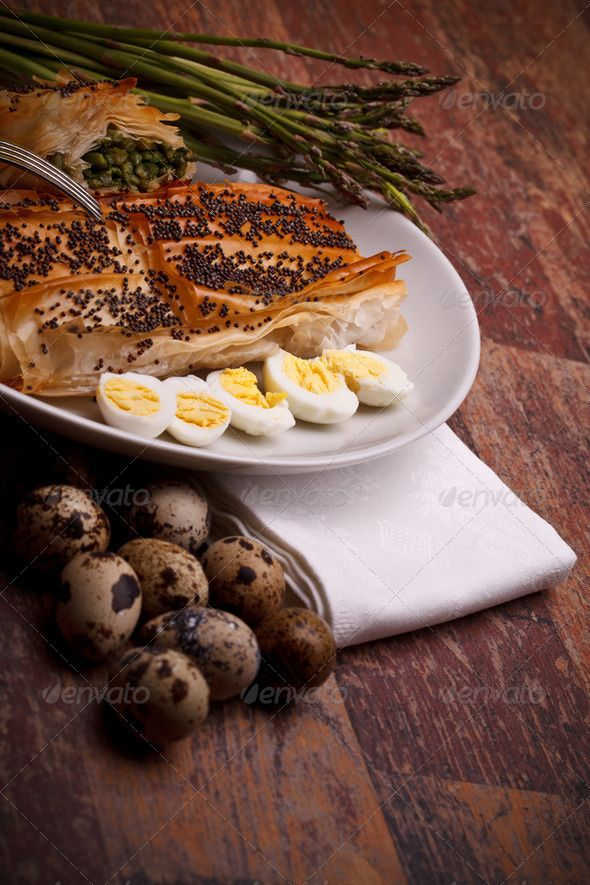 Stock photo for sale at Photodune: Italian Appetizers - Asparagus In Crust With Quail Eggs