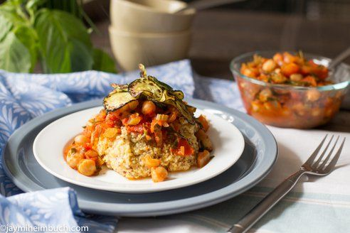 Polenta with tomato chickpea sauce
