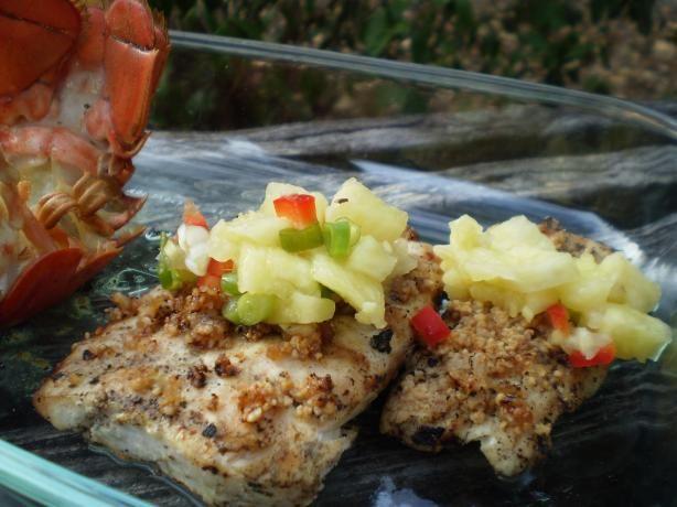 Grilled Mahi Mahi W. Honey-Macadamia Crust and Pineapple-Ginger. Photo ...