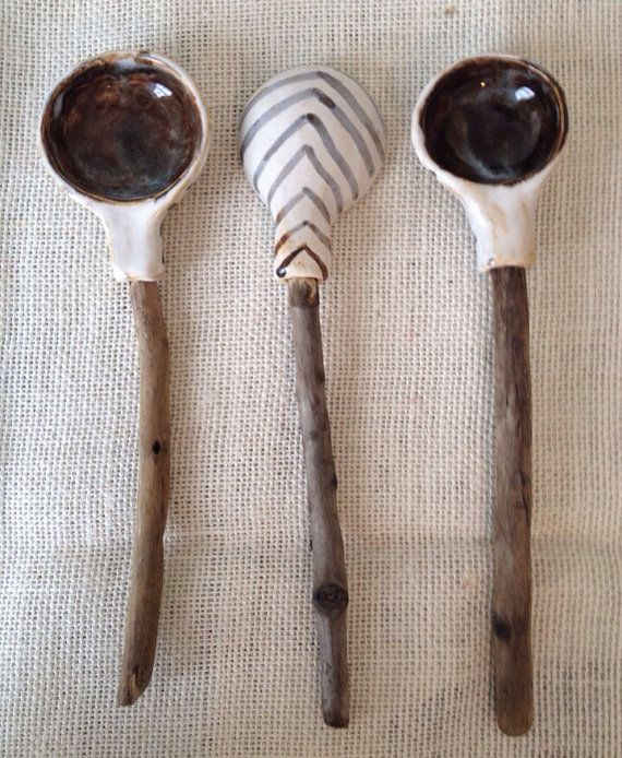 Ceramic and driftwood spoons with chevron by TheOwlPerchLLC