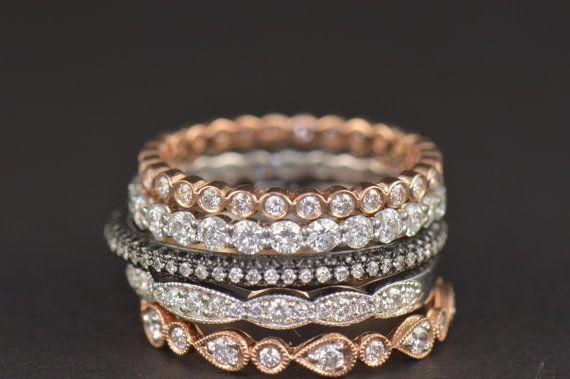 Julia Set Five Stackable Diamond Bands by DiamondDoveJewelry