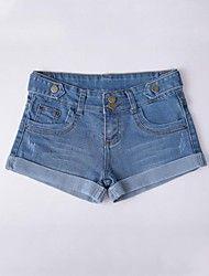 Dambyxor  ( Bomull/Denim ) Shorts/Jeans  -  Mellan  -  Mikro-elastiskt