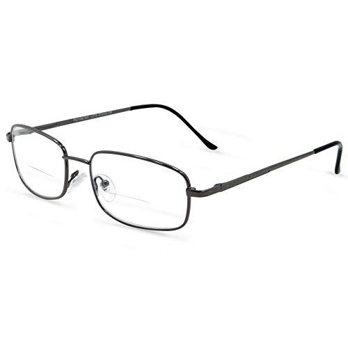 5499e885d0e9 In Style Eyes Enda Middle Bifocal Reading Glasses Pewter 1.75 ...