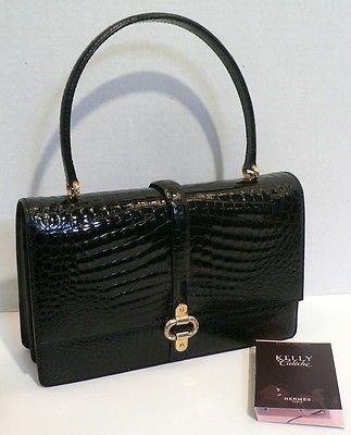 MORABITO Black Crocodile/Alligator Bag Handbag Purse Hermes Kelly Calache EDT Xc