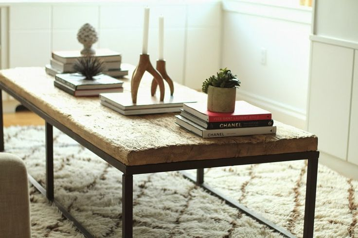 industrial coffee table + beni ourain rug