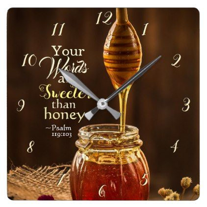 Psalm 119:103 Your Words are Sweeter than Honey Square Wall Clock - home gifts ideas decor special unique custom individual customized individualized