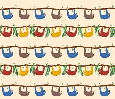 Sloths fabric by kelseyameliab on Spoonflower - custom fabric