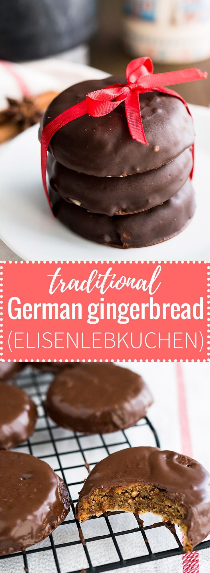 German Gingerbread (Lebkuchen) is a very popular sweet treat during Christmas time in Germany! Elisenlebkuchen contain no flour & are made with ground nuts.