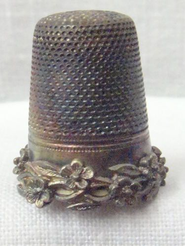 Antique Victorian Art Nouveau Sterling Silver Floral Thimble w Germany