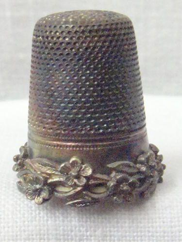 Antique Victorian Art Nouveau Sterling Silver Floral Thimble w Germany
