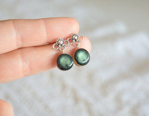 Green dangle earrings, wooden dangle earrings, silver dangle earrings ...