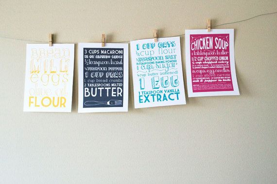 Kitchen Art Prints of Family Recipes with Handlettering