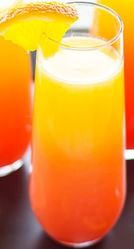 Tequila Sunrise Mimosas - Tequila, Prosecco or Champagne, OJ, and a Splash of Grenadine | Just Putzing Around the Kitchen