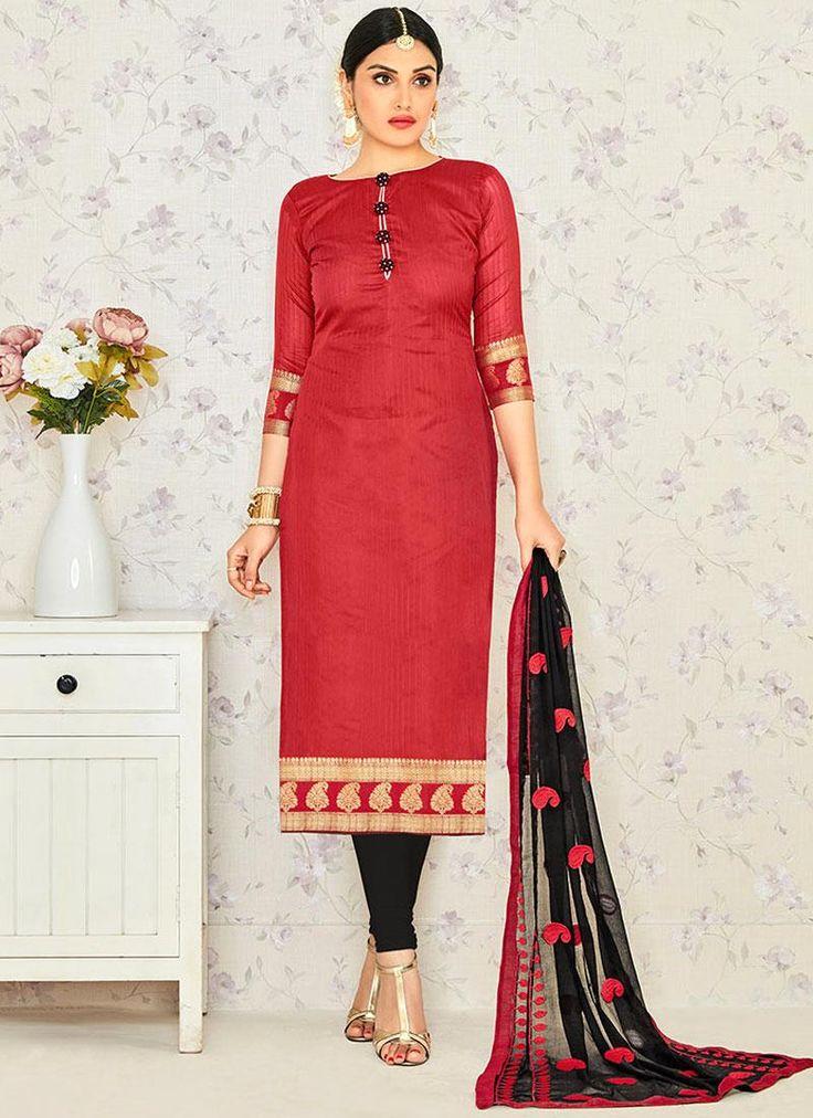 Lavish Embroidered Work Jacquard Maroon Churidar Suit