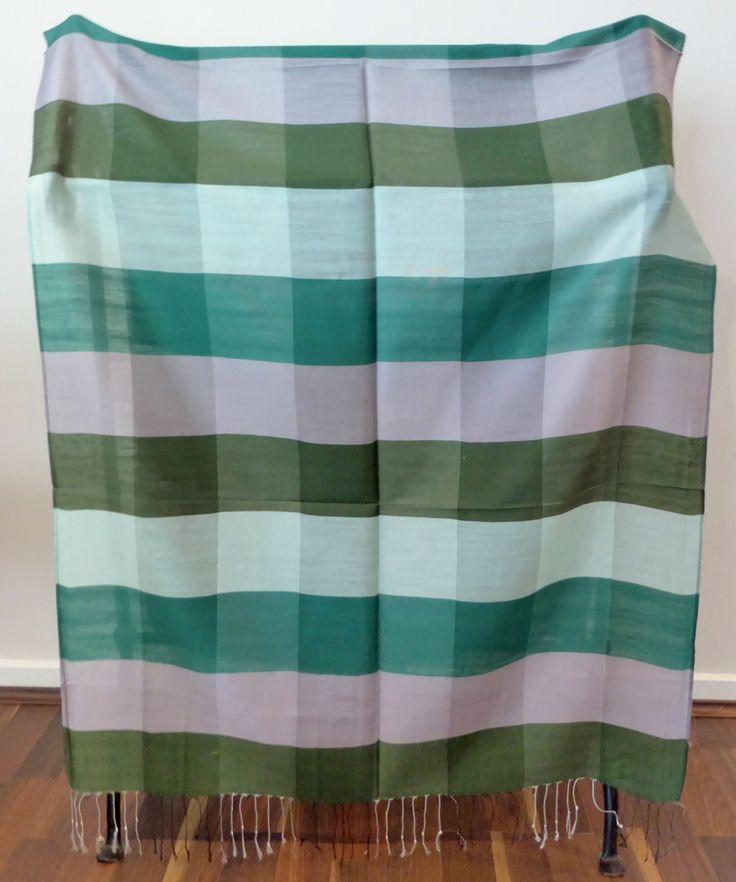 Scarf / Wrap / Shawl, 100% Silk, Unisex, Mens, Luxurious, Soft, Geometric Patterns, Neutral Palette, Greens #15 by WanderingThreadz on Etsy
