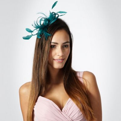 Debut Turquoise loop & feather hair clip fascinator- at Debenhams.com