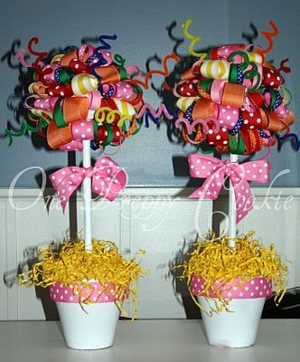 "One Preppy Cookie: TUTORIAL: How to Make a Ribbon Topiary - Centerpiece for MOPS tables, surrounded by a ""mess"" of ribbons"