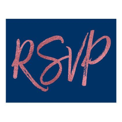 Rose Gold Foil and Navy Blue RSVP Wedding Postcard - postcard post card postcards unique diy cyo customize personalize