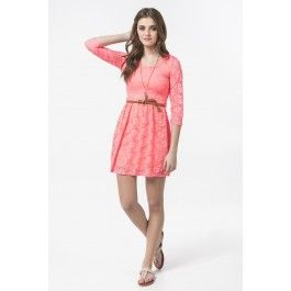 Neon coral lace 3/4 sleeve belted skater dress