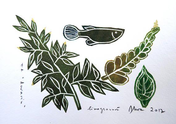 Exotic fish tank linocut tropical leaf tropical fish