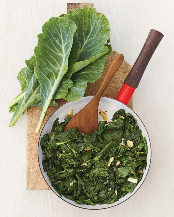 Sauteed Collard Greens with Garlic, healthier than my traditional Southern way..will try and see if my man likes them as much!!