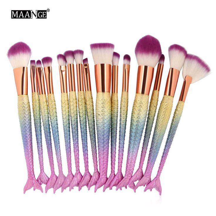 6-15PCS Mermaid Makeup Brushes Set Foundation Blending Powder Eyeshadow Contour Concealer Blush Cosmetic Beauty Make Up Tool Kit