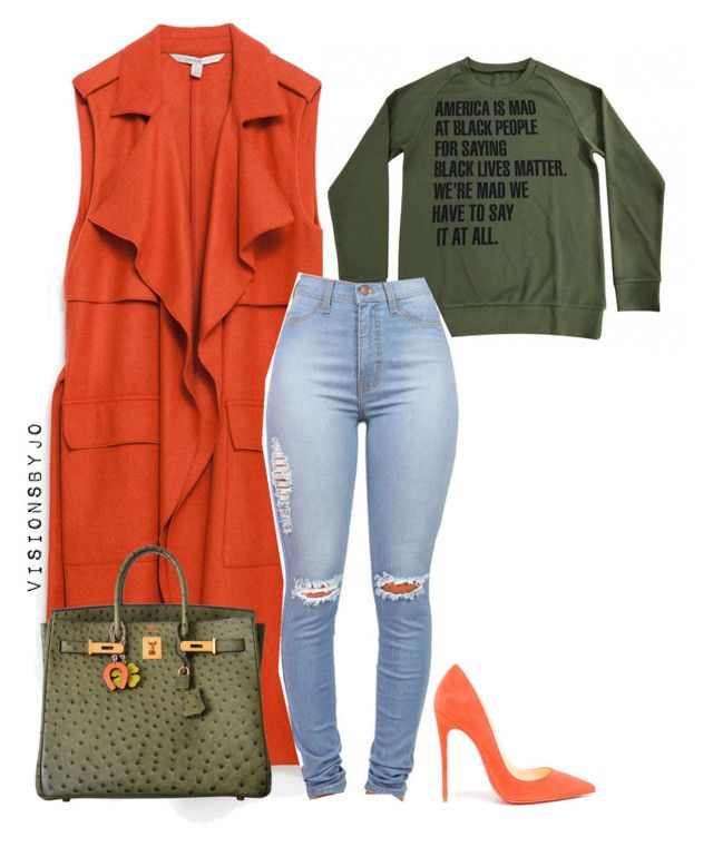Untitled #1667 by visionsbyjo on Polyvore featuring polyvore fashion style Zara Christian Louboutin Hermès clothing