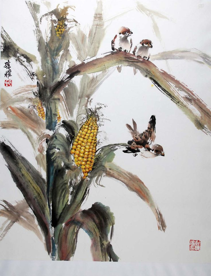 chinese painting water color of maize plant - Google Search