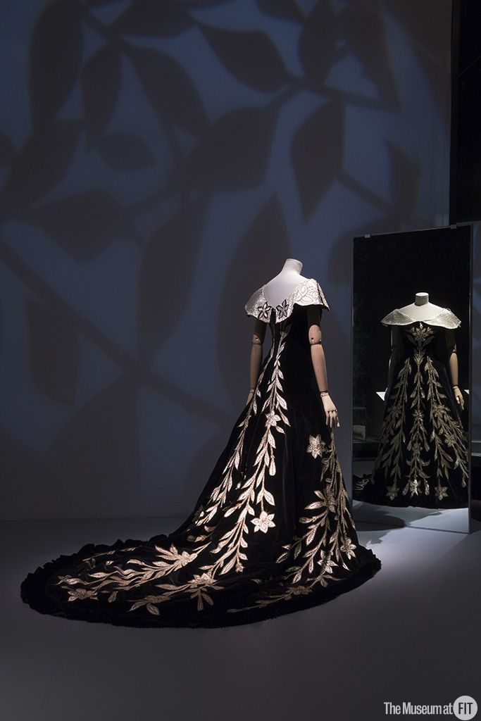 "House of Worth, ""Lily Dress,"" evening gown, 1896; from the collection of the Palais Galliera, Musée de la Mode de la Ville de Paris. Installation view of the exhibition Proust's Muse, The Countess Greffulhe at The Museum at FIT. Photograph © 2016 The Museum at FIT."
