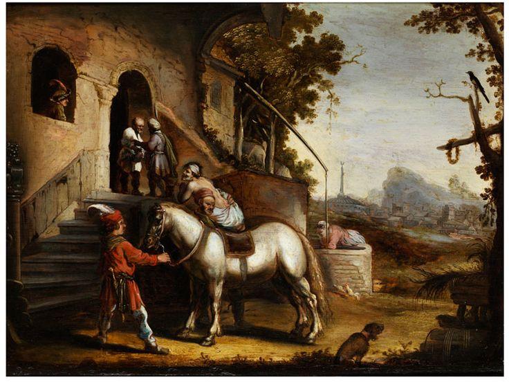 Rembrandt Harmensz. van Rijn, 1606 – 1669, nach  DER BARMHERZIGE SAMARITER Öl auf Eichenholz. 39 x 51 cm. Querformatig angelegte, spiegelverkehrte Wiedergabe des Gemäldes von Rembrandt van Rijn, das sich in...