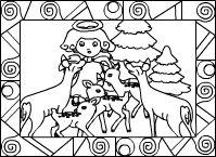 Engel und Rehe im Wald