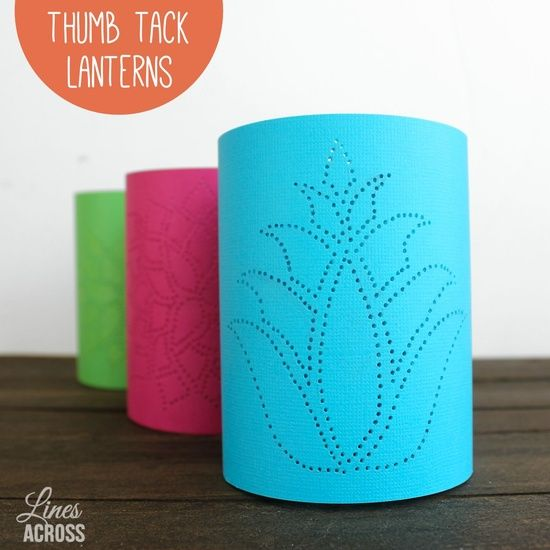 Thumb Tack Lanterns ~ These beautiful luminaries were inspired from tin can luminaries.  Simply trace a desired pattern on card stock and punch out the pattern with a thumb tack. They add an elegant touch to a wedding, bedroom, or even as a centerpiece.