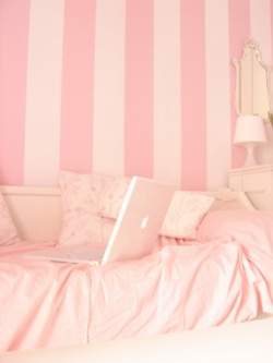 babygirl's room- love the color, but would prefer horizontal stripes.