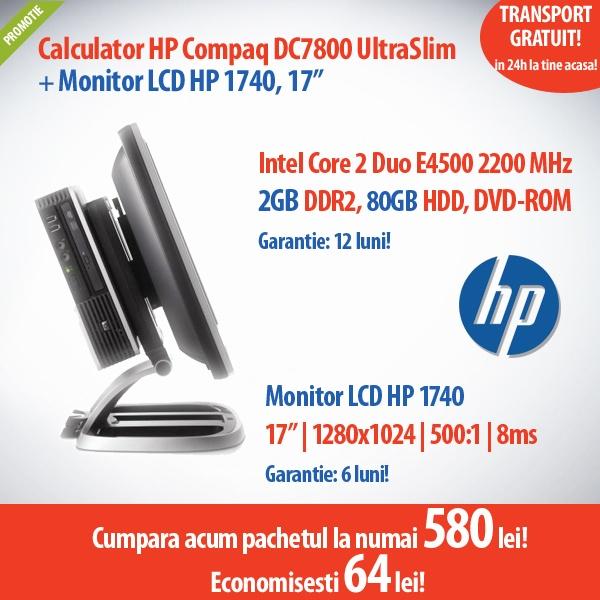 """Calculator HP Compaq DC7800 UltraSlim cu procesor Intel Core 2 Duo E4500 si monitor HP 1740 cu display 17"""", la numai 580 de lei! Economisesti 64 de lei!"""