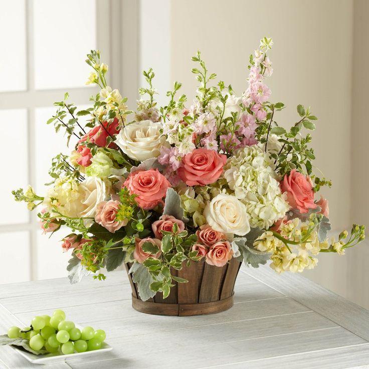 The Rosalie Spring Hydrangea Blush Pink Cream Cottage Centerpiece In 2020 Basket Flower Arrangements Large Flower Arrangements Spring Flower Arrangements
