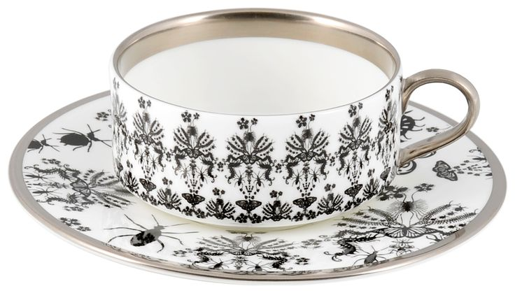 Entomo Black Teacup & Saucer, hand gilded in Platinum. Range also available in Platinum. Made in Stoke-on-Trent, England. Fine Bone China