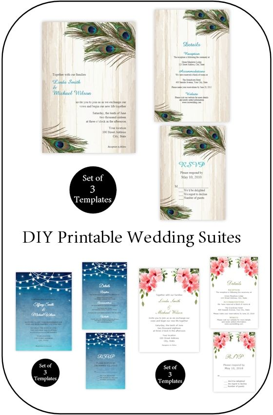 A printable wedding invitation set is the perfect way to invite guests to your wedding. Now you can purchase a set of matching templates at an affordable price. Each suite includes an invitation, details card and rsvp editable template.