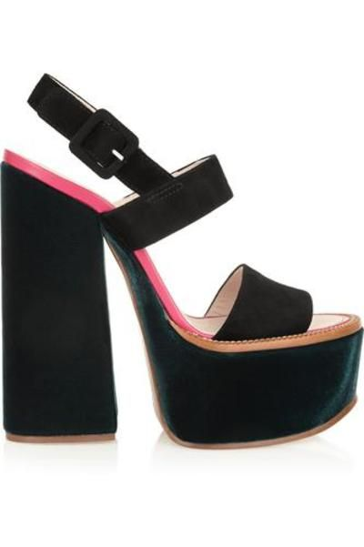 #covetmeVelvet and suede platform sandals #heels #covetme #victoriabeckham
