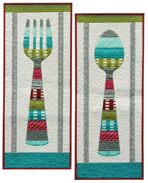 These wallhanging or table runners are a nice play on the vintage wooden fork and spoons that use to hang in so many kitchens