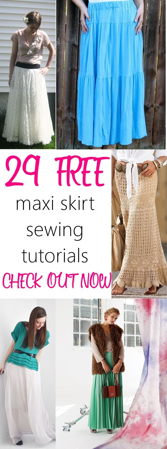 29 FREE maxi skirt sewing tutorials on http://sewsomestuff.com. AWESOME list of maxi skirts to sew this summer. LOVE THEM ALL. Such a beautiful collection. CHECK OUT NOW!
