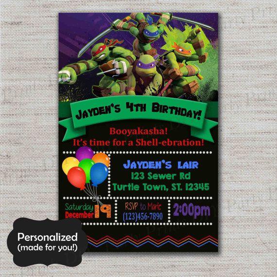 the 25+ best ninja turtle invitations ideas on pinterest | ninja, Party invitations
